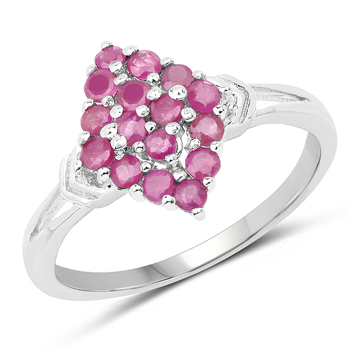 Ruby-0.72 Carat Genuine Ruby .925 Sterling Silver Ring