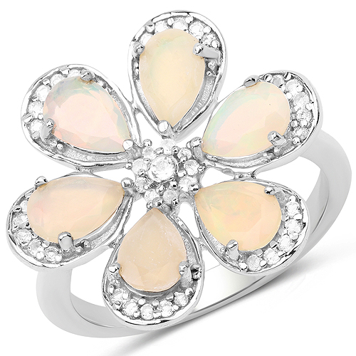 Opal-1.71 Carat Genuine Ethiopian Opal and White Topaz .925 Sterling Silver Ring Ring