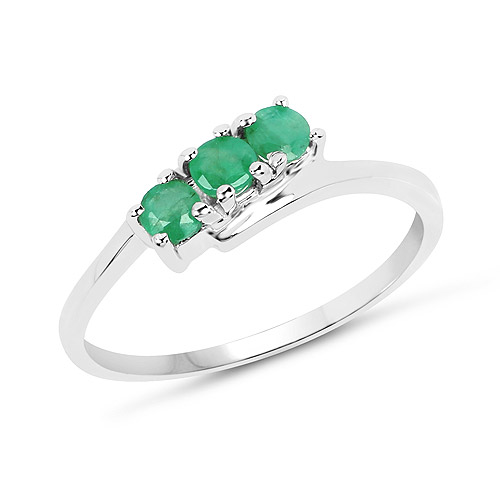 Emerald-0.30 Carat Genuine Emerald .925 Sterling Silver Ring