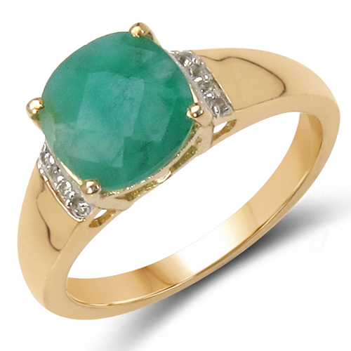 Emerald-14K Yellow Gold Plated 2.24 Carat Genuine Emerald & White Topaz .925 Sterling Silver Ring