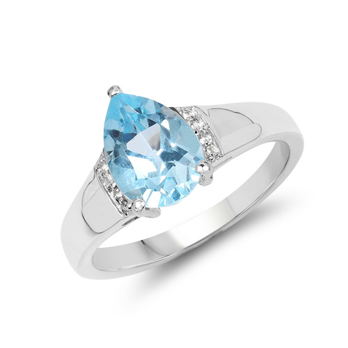 Rings-1.94 Carat Genuine Blue Topaz and White Topaz .925 Sterling Silver Ring