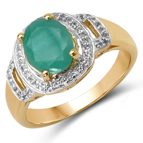 Emerald-14K Yellow Gold Plated 2.03 Carat Genuine Emerald & White Topaz .925 Sterling Silver Ring