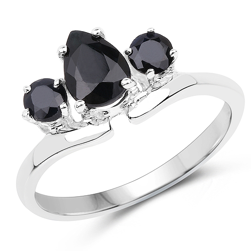 Sapphire-1.23 Carat Genuine Black Sapphire .925 Sterling Silver Ring