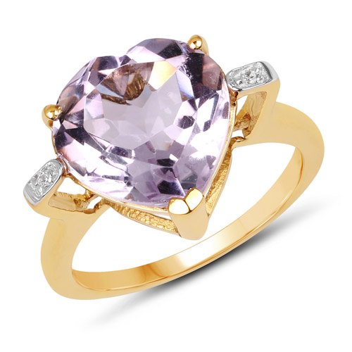 Amethyst-14K Yellow Gold Plated 5.26 Carat Genuine Pink Amethyst and White Topaz .925 Sterling Silver Ring