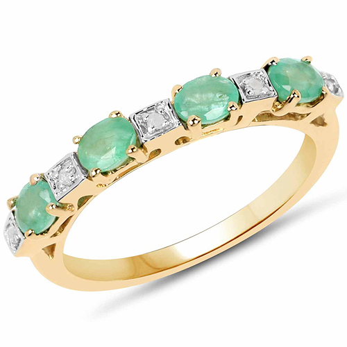 Emerald-14K Yellow Gold Plated 0.59 Carat Genuine Emerald and White Diamond .925 Sterling Silver Ring