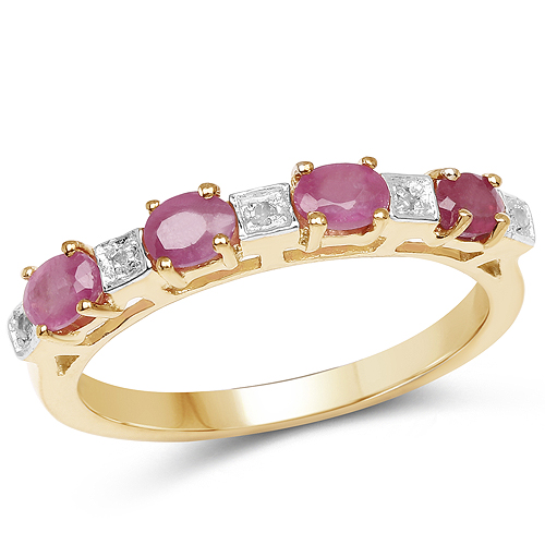 Ruby-14K Yellow Gold Plated 0.91 Carat Genuine Ruby and White Diamond .925 Sterling Silver Ring