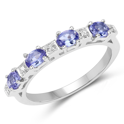 Tanzanite-0.71 Carat Genuine Tanzanite & White Topaz .925 Sterling Silver Ring