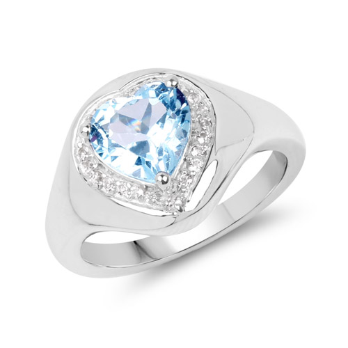 Rings-2.13 Carat Genuine Blue Topaz and White Topaz .925 Sterling Silver Ring