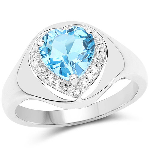 Rings-2.23 Carat Genuine Swiss Blue Topaz and White Topaz .925 Sterling Silver Ring