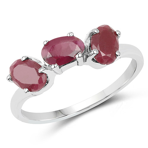 Ruby-1.65 Carat Genuine Ruby .925 Sterling Silver Ring