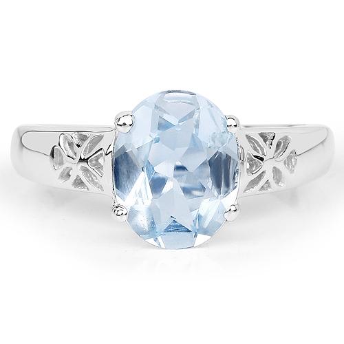 2.55 Carat Genuine Blue Topaz .925 Sterling Silver Ring