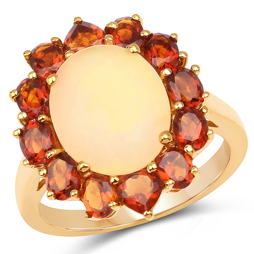Opal-14K Yellow Gold Plated 4.60 Carat Genuine Ethiopian Opal & Madeira Citrine .925 Sterling Silver Ring