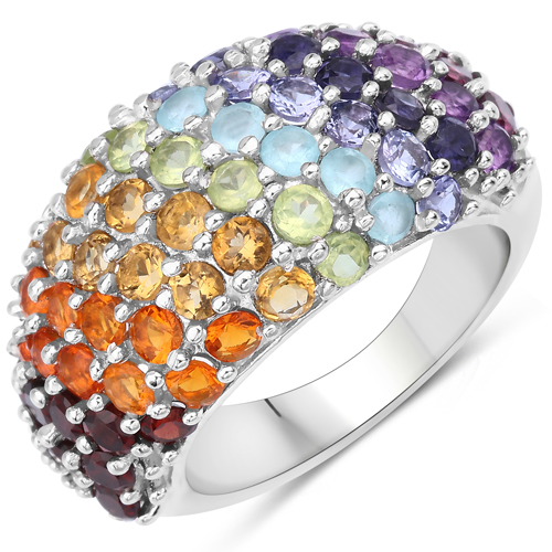 Rings-4.16 Carat Genuine Multi Stones .925 Sterling Silver Ring