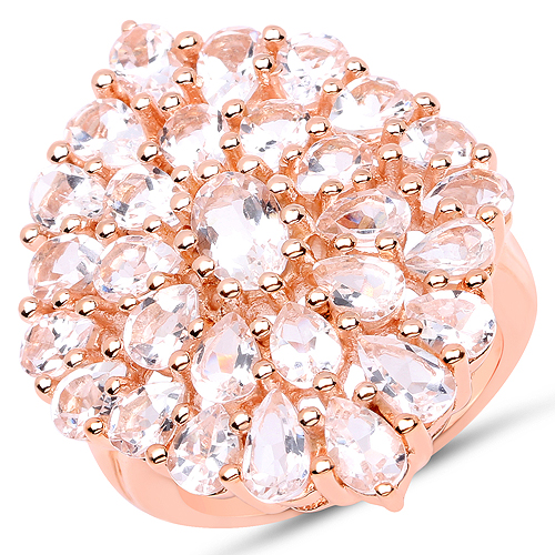 Rings-14K Rose Gold Plated 4.55 Carat Genuine Morganite .925 Sterling Silver Ring