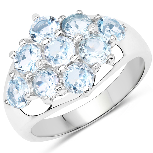 Rings-2.88 Carat Genuine Blue Topaz .925 Sterling Silver Ring