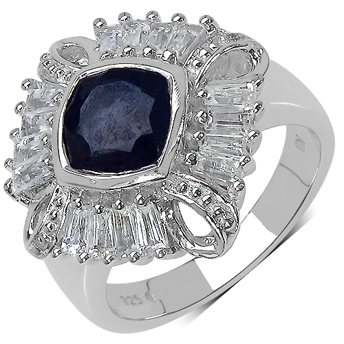 Sapphire-2.69 Carat Genuine Multi-Gems and 0.01 ct.t.w Genuine Diamond Accents Sterling Silver Ring