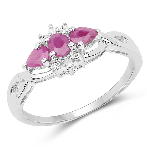 Ruby-0.64 Carat Genuine Ruby and White Diamond .925 Sterling Silver Ring