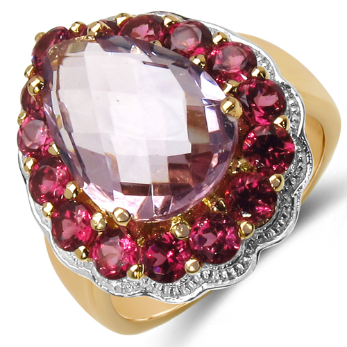Amethyst-14K Yellow Gold Plated 6.75 Carat Genuine Amethyst & Rhodolite .925 Sterling Silver Ring