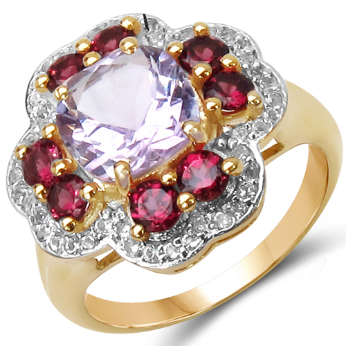 Amethyst-14K Yellow Gold Plated 3.47 Carat Genuine Amethyst, Rhodolite & White Topaz .925 Sterling Silver Ring