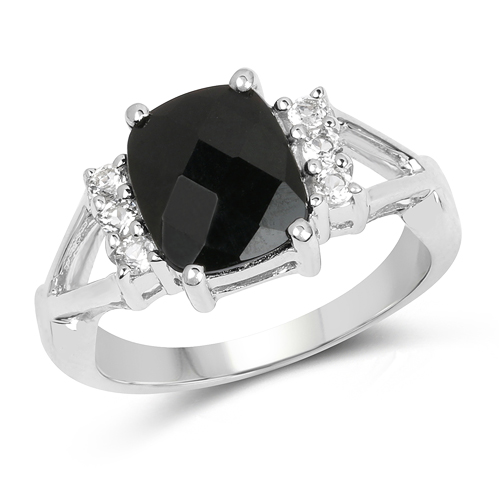 Rings-2.59 Carat Genuine Black Onyx & White Topaz .925 Sterling Silver Ring