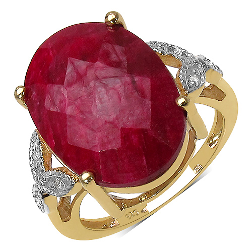 Ruby-14K Yellow Gold Plated 12.24 Carat Genuine Ruby & White Topaz .925 Streling Silver Ring