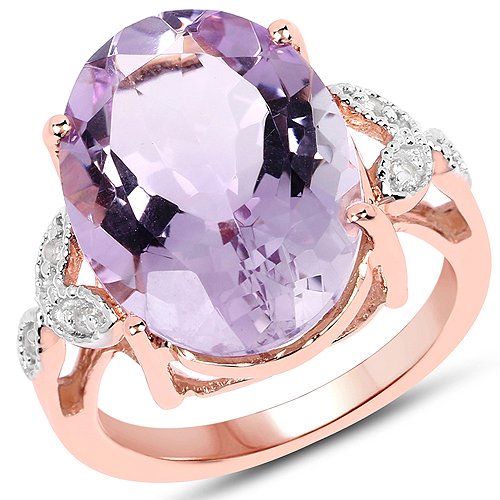 Amethyst-18K Rose Gold Plated 10.50 Carat Genuine Pink Amethyst and White Topaz .925 Sterling Silver Ring