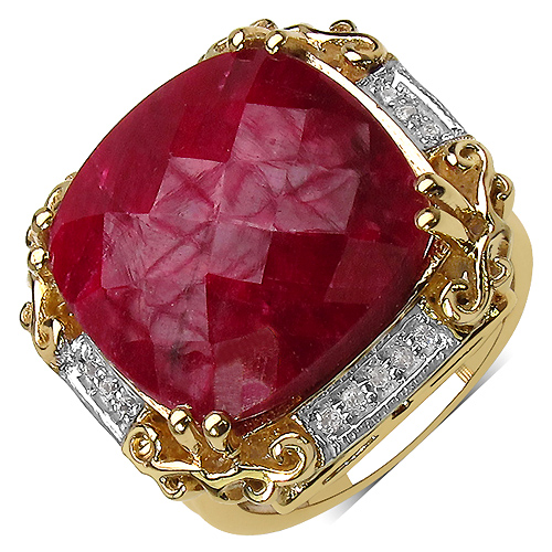 Ruby-14K Yellow Gold Plated 17.43 Carat Genuine Ruby & White Topaz .925 Streling Silver Ring