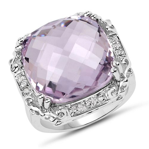 Amethyst-13.83 Carat Genuine Pink Amethyst & White Topaz .925 Sterling Silver Ring