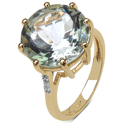 14K Yellow Gold Plated 7.64 Carat Genuine Green Amethyst & White Topaz .925 Sterling Silver Ring