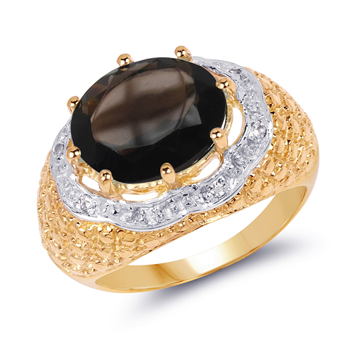 Rings-14K Yellow Gold Plated 4.73 Carat Genuine Smoky Quartz & White Topaz .925 Sterling Silver Ring