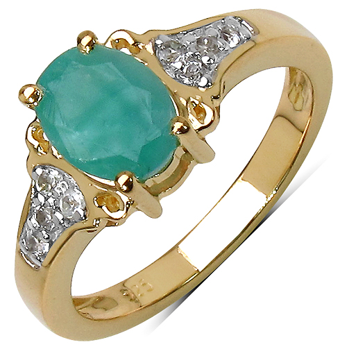 Emerald-14K Yellow Gold Plated 1.24 Carat Genuine Emerald & White Topaz .925 Streling Silver Ring