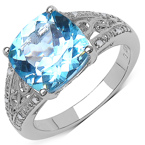 Rings-5.05 Carat Genuine Blue Topaz and 0.05 ct.t.w Genuine Diamond Accents Sterling Silver Ring