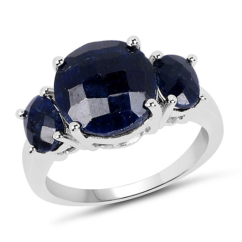 Sapphire-14K White Gold Plated 7.67 Carat Dyed Sapphire .925 Sterling Silver Ring