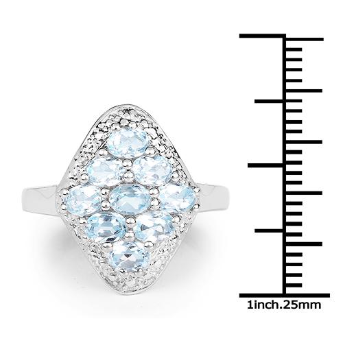 1.80 Carat Genuine Blue Topaz .925 Sterling Silver Ring