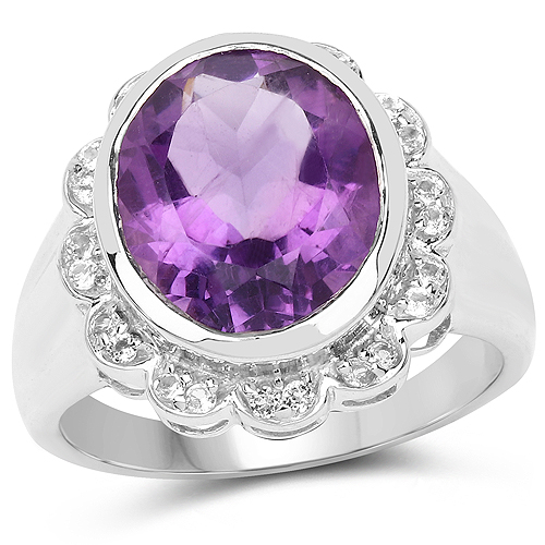 Amethyst-4.04 Carat Genuine Amethyst and White Topaz .925 Sterling Silver Ring
