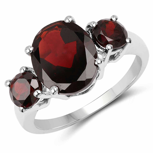 Garnet-5.01 Carat Genuine Garnet .925 Sterling Silver Ring
