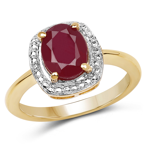 Ruby-14K Yellow Gold Plated 2.30 Carat Glass Filled Ruby .925 Sterling Silver Ring