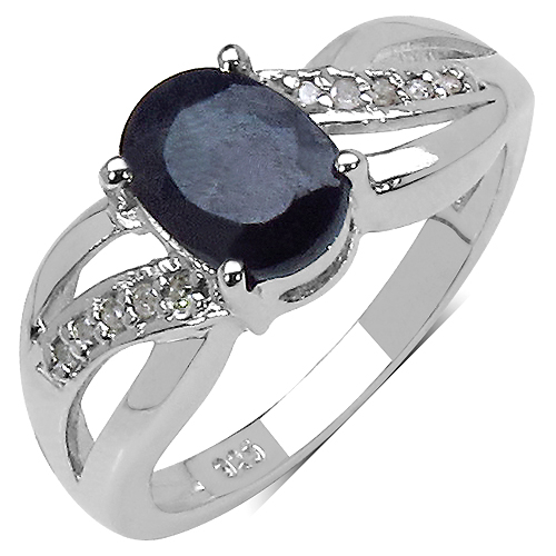 Sapphire-1.66 Carat Genuine Black Sapphite .925 Sterling Silver Ring