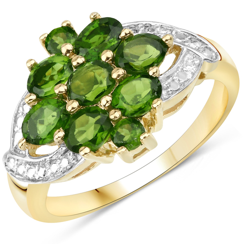 Rings-14K Yellow Gold Plated 1.26 Carat Genuine Chrome Diopside .925 Sterling Silver Ring