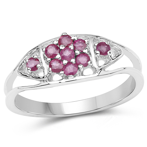Ruby-0.41 Carat Genuine Ruby .925 Sterling Silver Ring