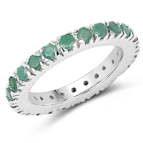 Emerald-1.49 Carat Genuine Emerald .925 Sterling Silver Ring
