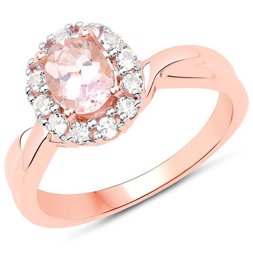 Rings-14K Rose Gold Plated 1.08 Carat Genuine Morganite and White Topaz .925 Sterling Silver Ring