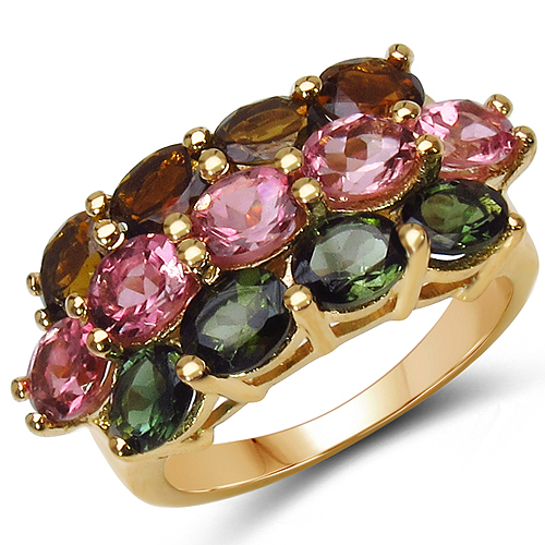 Rings-14K Yellow Gold Plated 4.58 Carat Genuine Multi Tourmaline .925 Sterling Silver Ring