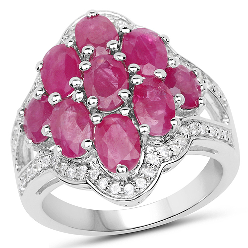 Ruby-4.72 Carat Genuine Ruby and White Zircon .925 Sterling Silver Ring