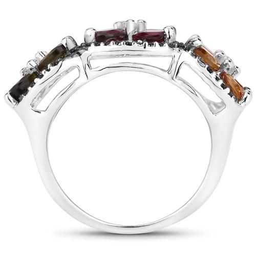 8.38 Carat Genuine Multi Stones .925 Sterling Silver Ring