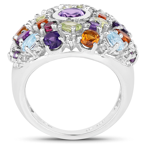 4.14 Carat Genuine Multi Stones .925 Sterling Silver Ring