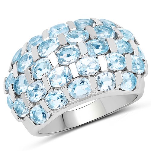 Rings-5.51 Carat Genuine Blue Topaz .925 Sterling Silver Ring