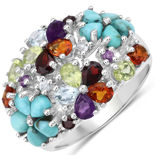 Rings-4.03 Carat Genuine Multi Stones .925 Sterling Silver Ring