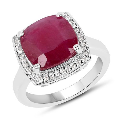 Ruby-5.97 Carat Glass Filled Ruby And White Zircon .925 Sterling Silver Ring