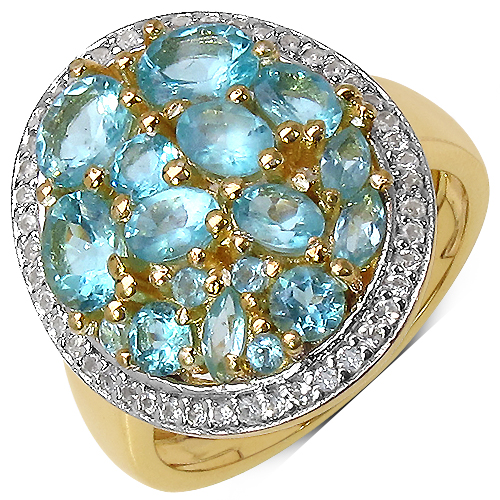 Rings-14K Yellow Gold Plated 2.45 Carat Genuine Apatite & White Topaz .925 Streling Silver Ring